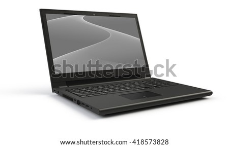 3d render of a black laptop isolated on white. The screen shows a black and white grey  abstract wave image. the screen is open and facing forward