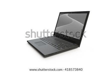 3d render of a black laptop isolated on white. The screen shows a black and white grey  abstract wave image. the screen is open and facing forward - stock photo