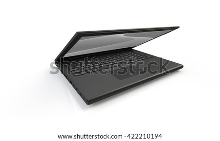 3d render of a black laptop isolated on white. The screen shows a black and white grey  abstract wave image. the screen is half closed and facing forward - stock photo