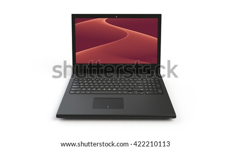 3d render of a black laptop isolated on white. The screen shows a red pink  abstract wave image. the screen is open and facing forward