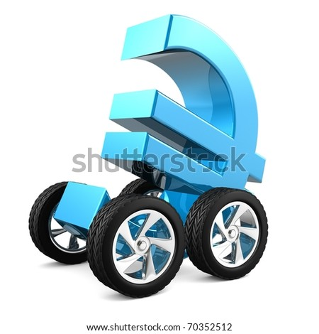 3d render of a blue shiny euro symbol with wheels isolated on white background with clipping path