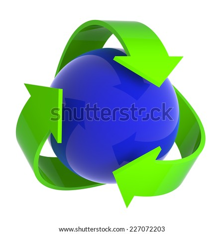 3d render of a blue sphere surrounded by recycle symbol