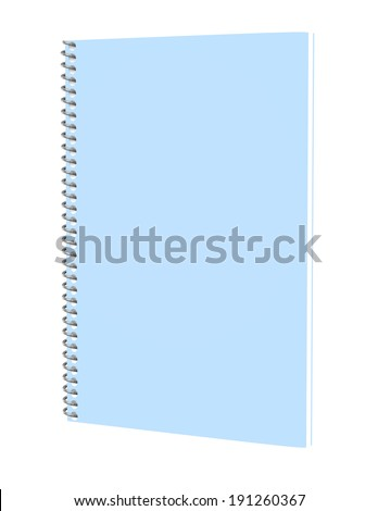 3d Render of a Blue Spiral Notebook