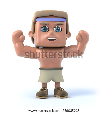 3d render of a bodybuilder raising his arms in the air. - stock photo