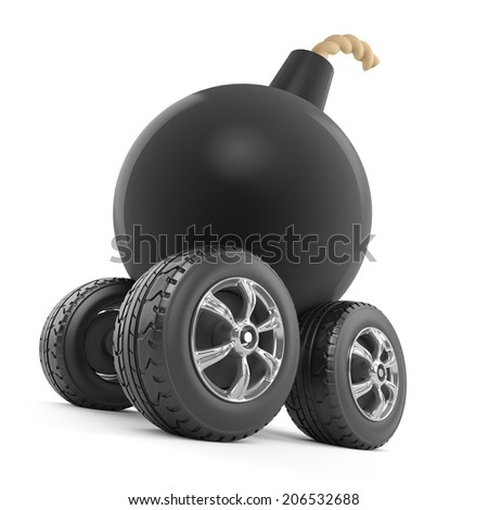 3d render of a bomb on wheels