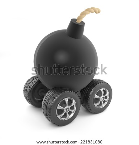 3d render of a bomb on wheels - stock photo