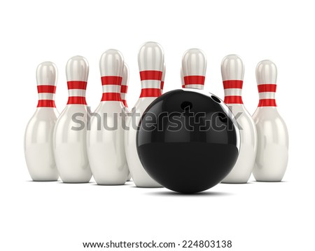 3d render of a bowling ball about to hit pins - stock photo