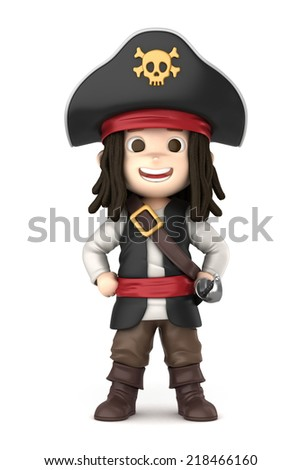 3D render of a boy wearing Halloween pirate costume
