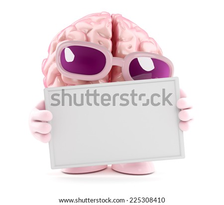 3d render of a brain character holding a blank banner - stock photo