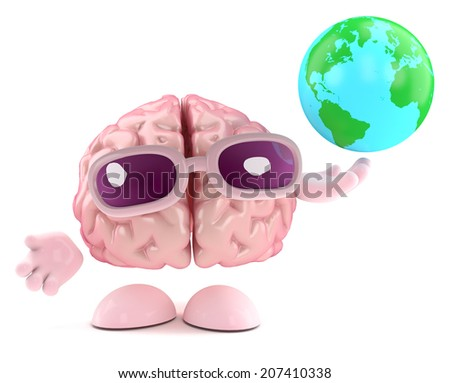 3d render of a brain character holding a globe of the Earth - stock photo