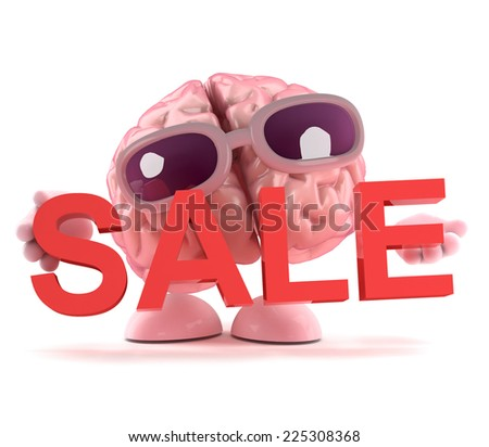 3d render of a brain character holding a Sale sign - stock photo
