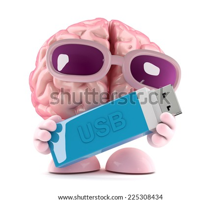 3d render of a brain character holding a USB memory stick - stock photo
