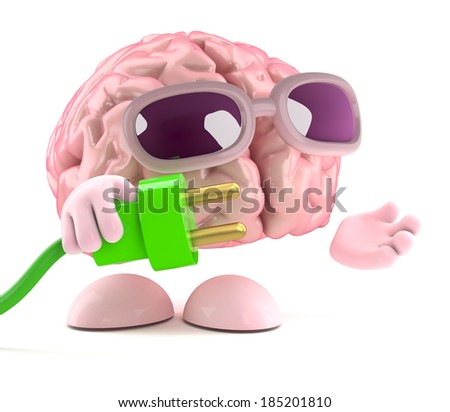 3d render of a brain holding a green plug - stock photo