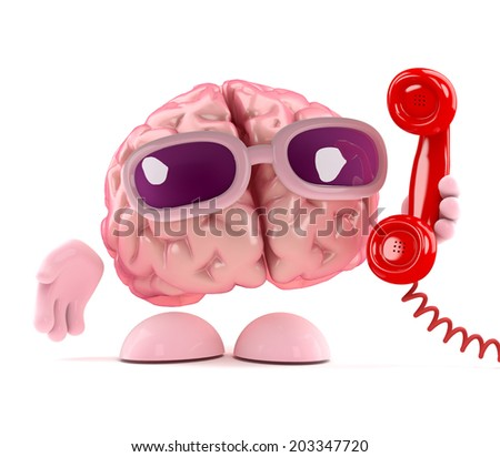 3d render of a brain holding a phone handset receiver - stock photo
