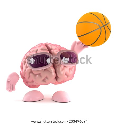 3d render of a brain throwing a basketball - stock photo