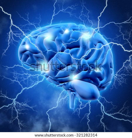 3D render of a brain with lightening bolts - stock photo