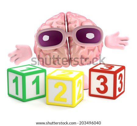 3d render of a brain with wooden counting blocks - stock photo