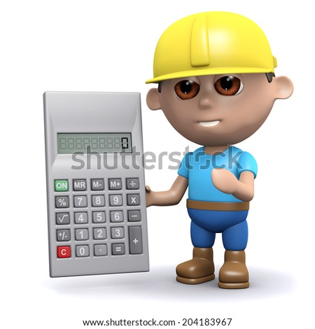 3d render of a builder with a calculator
