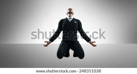 3d render of a businessman in a pose of despair - stock photo