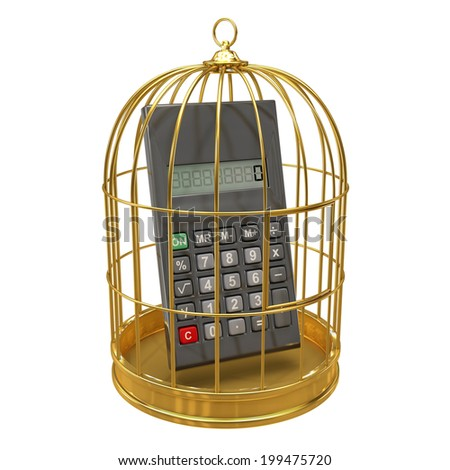 3d render of a calculater inside a gold bird cage - stock photo