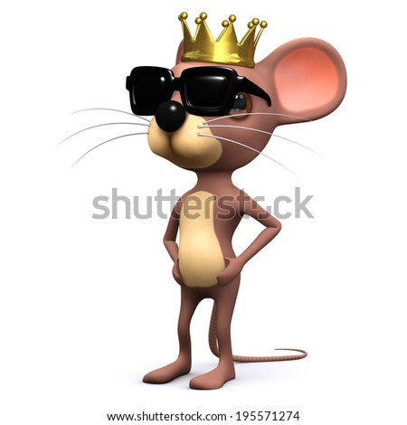 3d render of a cartoon mouse wearing a golden crown