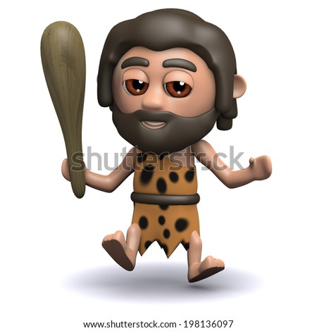3d render of a caveman jumping in the air with his club