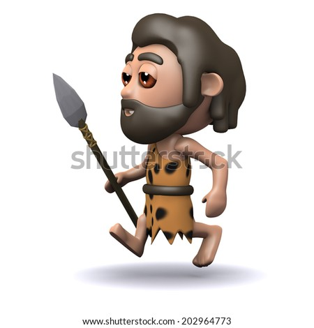 3d render of a caveman running with a spear