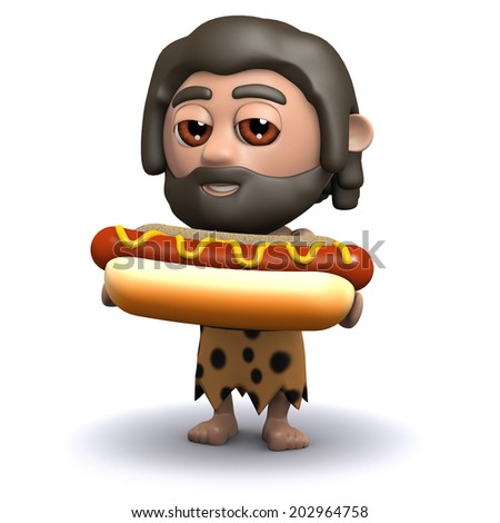 3d render of a caveman with a hot dog