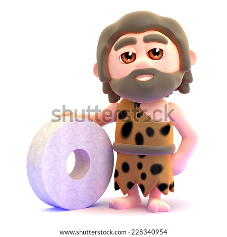 3d render of a caveman with a stone wheel. - stock photo