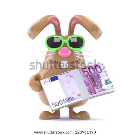 3d render of a chocolate Easter rabbit holding a stash of Euro bank notes. - stock photo