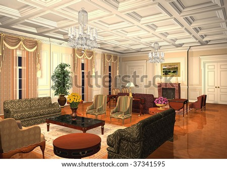 3D render of a classic living room