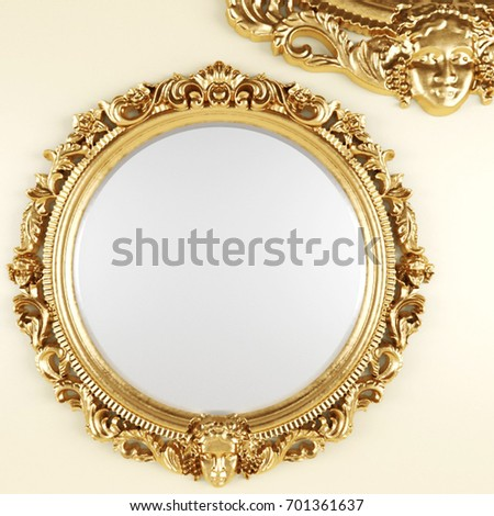 3d render of a classic mirror in a golden frame