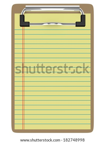 3d Render of a Clipboard With Paper - stock photo