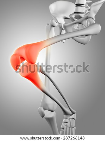 3D render of a close up of the knee bone - stock photo