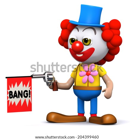 3d render of a clown with a toy gun - stock photo