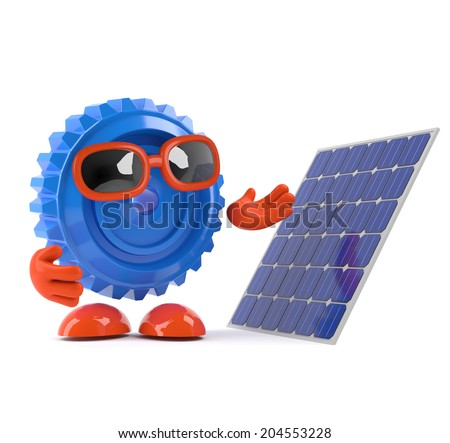 3d render of a cog looking a solar panel - stock photo