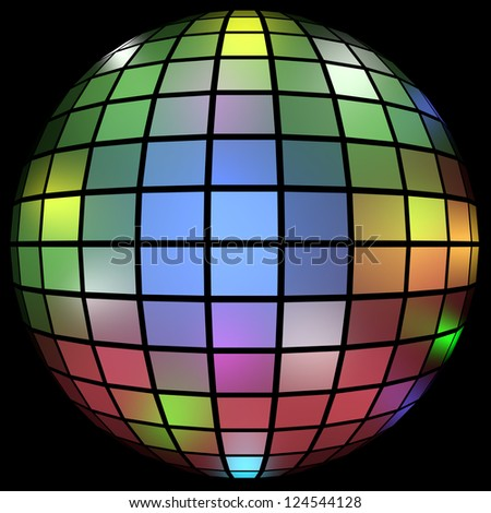 3d Render of a Colorful Disco Ball - stock photo