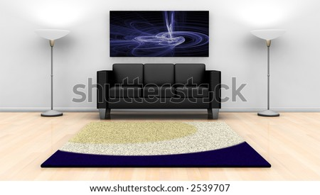3D render of a contemporary lounge with abstract painting on wall - stock photo