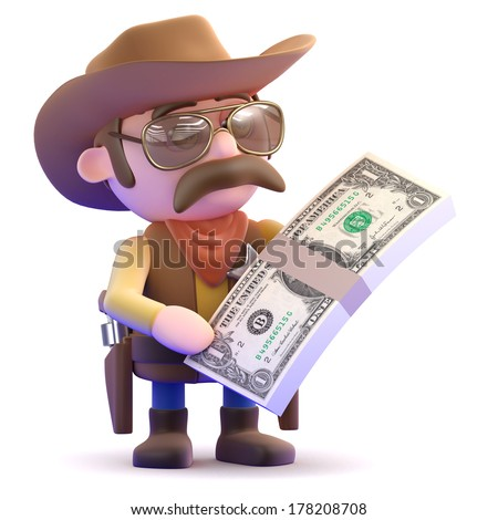 3d render of a cowboy with a stack of dollar bills