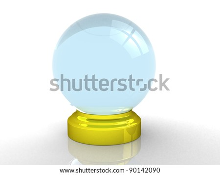 3d render of a crystal ball over white - 3d illustration