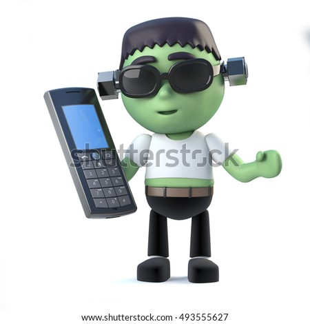 3d render of a cute kid frankenstein monster holding a cell phone.