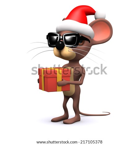 3d render of a cute mouse wearing a Santa Claus hat and holding a Christmas gift - stock photo