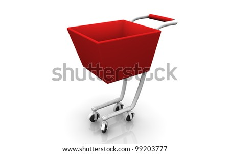 3D render of a cute red shopping cart