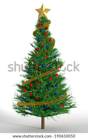 3d Render of a Decorated Christmas Tree - stock photo