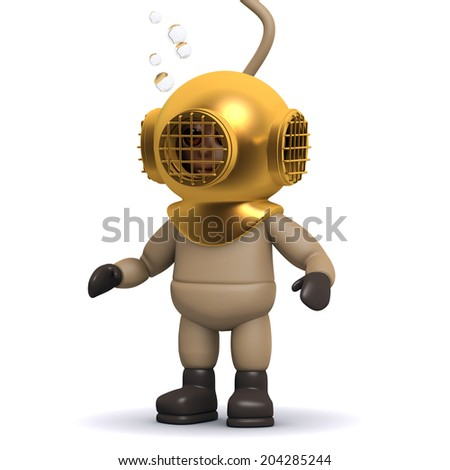 3d render of a deep sea diver at the bottom of the ocean - stock photo
