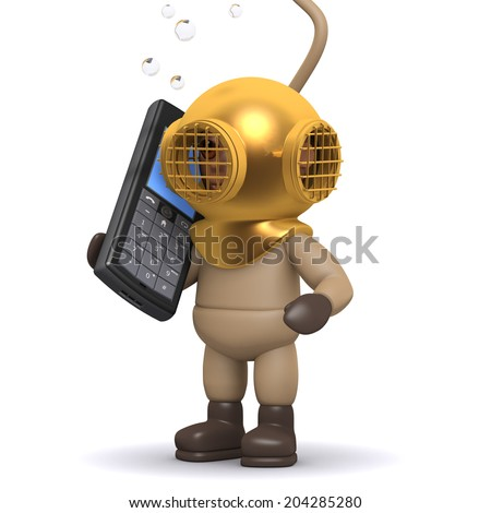 3d render of a deep sea diver chatting on a cellphone - stock photo