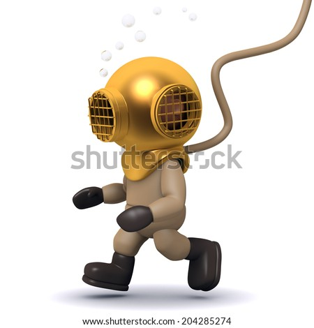 3d render of a deep sea diver walking along the bottom of the ocean - stock photo