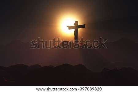 3D render of a depiction of Jesus on the cross