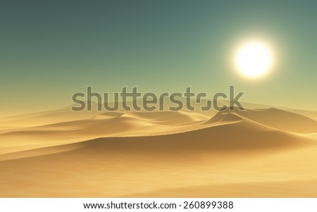 3D render of a desert scene - stock photo