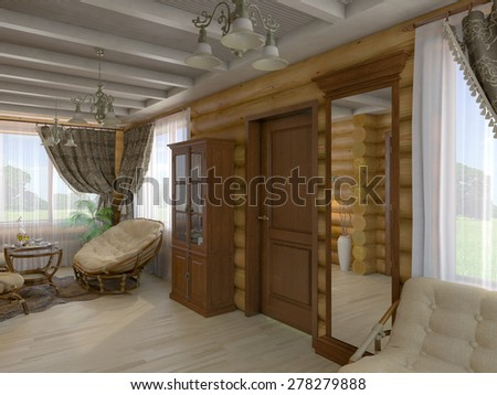 3D render of a drawing room and hall of the house from a log
